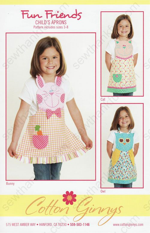 Fun Friends Apron sewing pattern from Cotton Ginnys | delantal ...