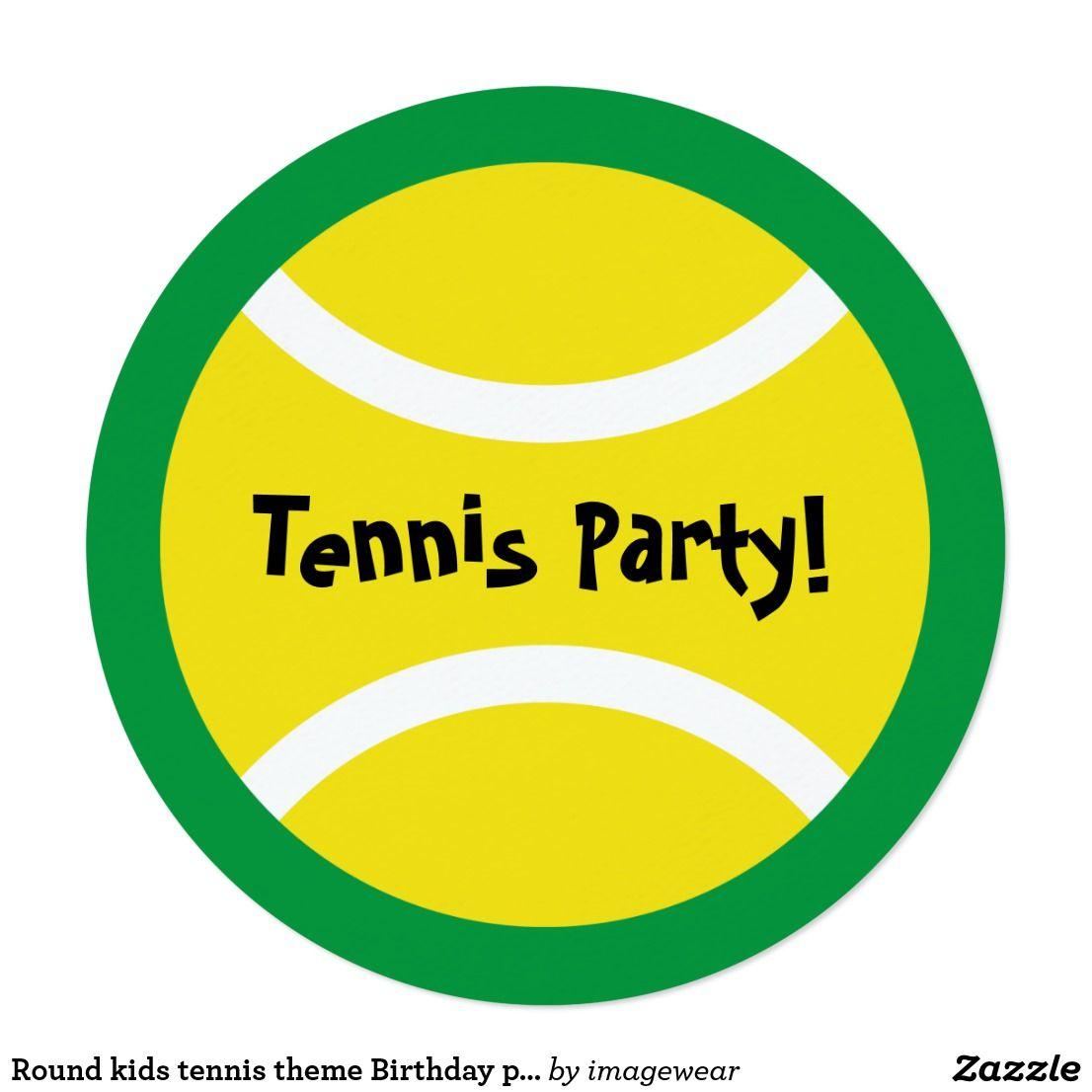 Round kids tennis theme Birthday party invitations | Party ...