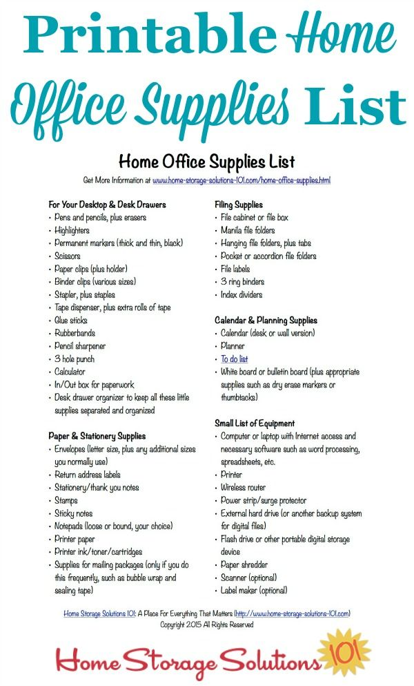 Free Printable Home Office Supplies List Office Supplies List Office Supplies And Supply List