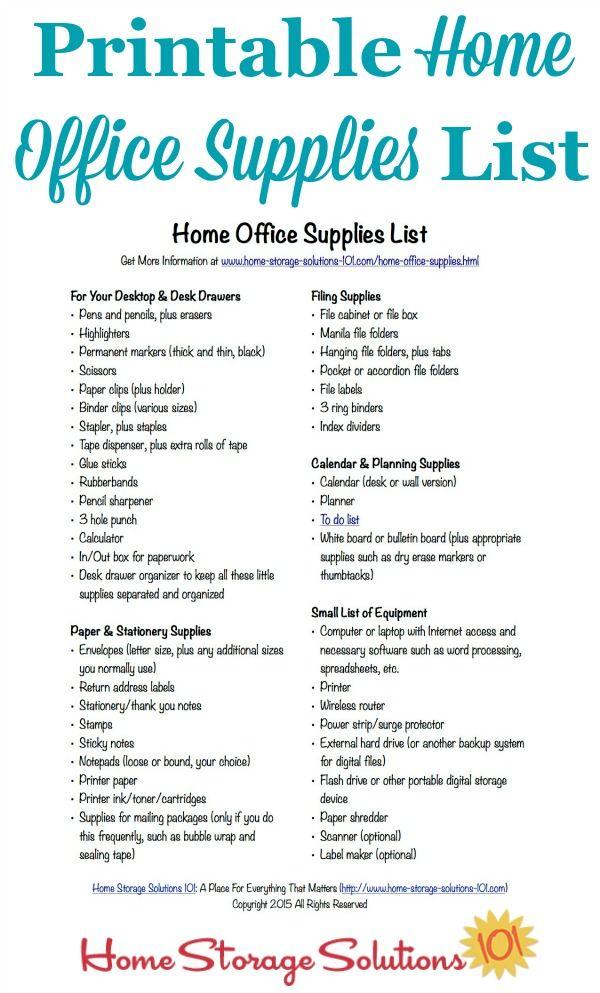 Free Printable Home Office Supplies List Office Supplies List