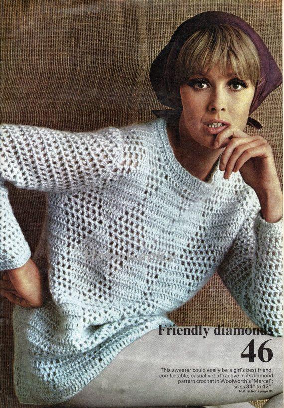 Ladies Crochet Pattern Ladies Diamond Pattern Sweater Crochet