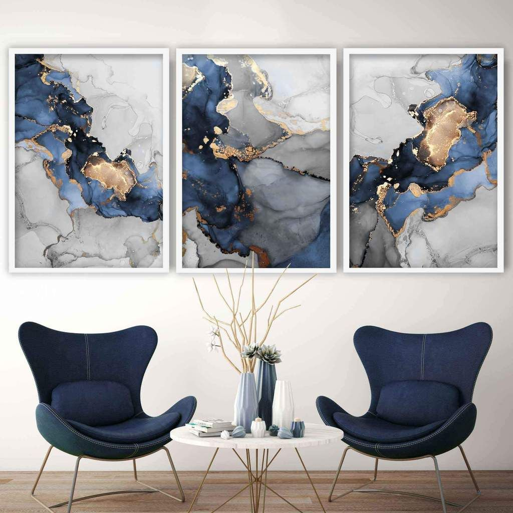Set Of 3 Abstract Art Prints Of Paintings Navy Blue Grey And Gold Artze Wall Art Blue And Gold Living Room Grey Wall Art Wall Art Living Room