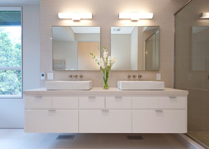 White Floating Bathroom Vanity With Top And Coloured Lacquer Finish