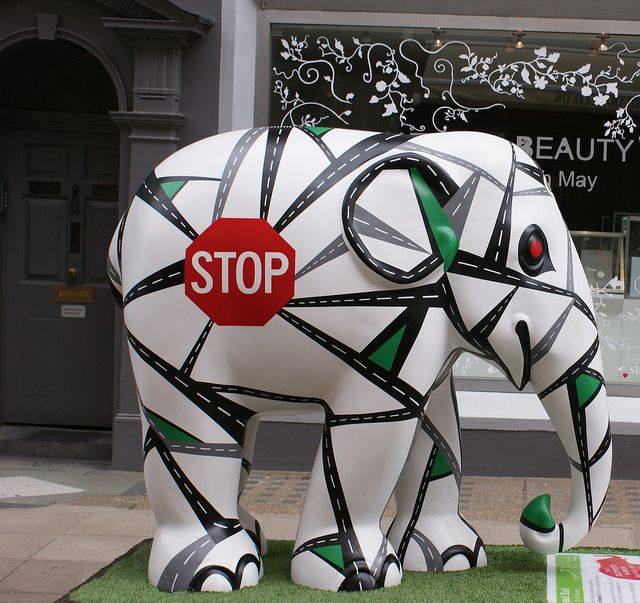 Elephant Parade in London 2010;  photo by CrowMDF, via Flickr