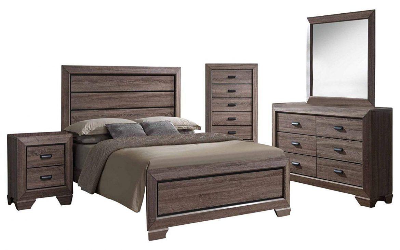 Kings brand blackbrown wood modern king size bedroom furniture set