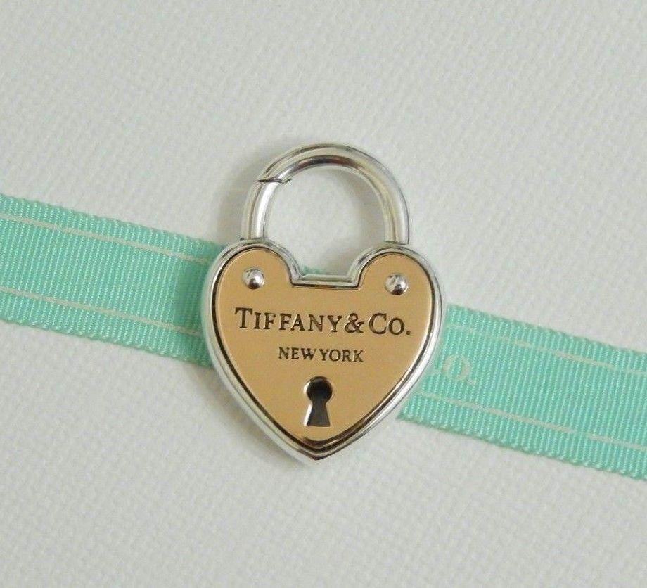 5cf85139064d3 Tiffany & Co Silver 18k Rose Gold Large Heart Arc Lock Padlock Charm ...