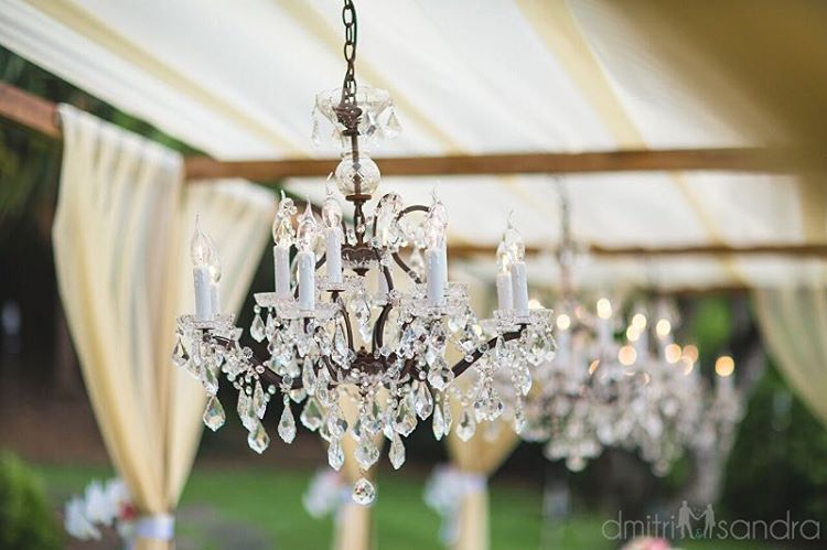 Chandeliers add the perfect glamour details to an outdoor wedding - Bliss Wedding Design + Dmitri and Sandra Photography