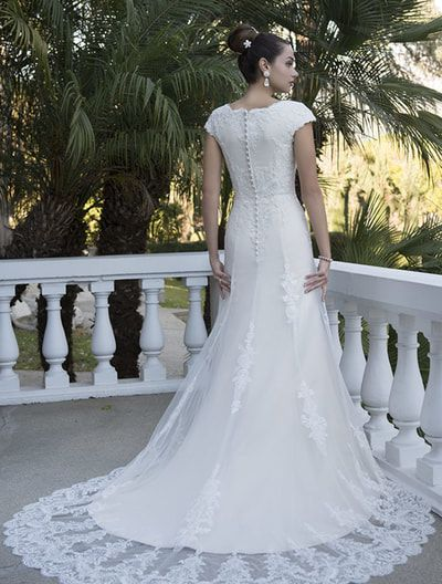 Venus Bridal TB7696 Modest Wedding Dress features a lace illusion ...