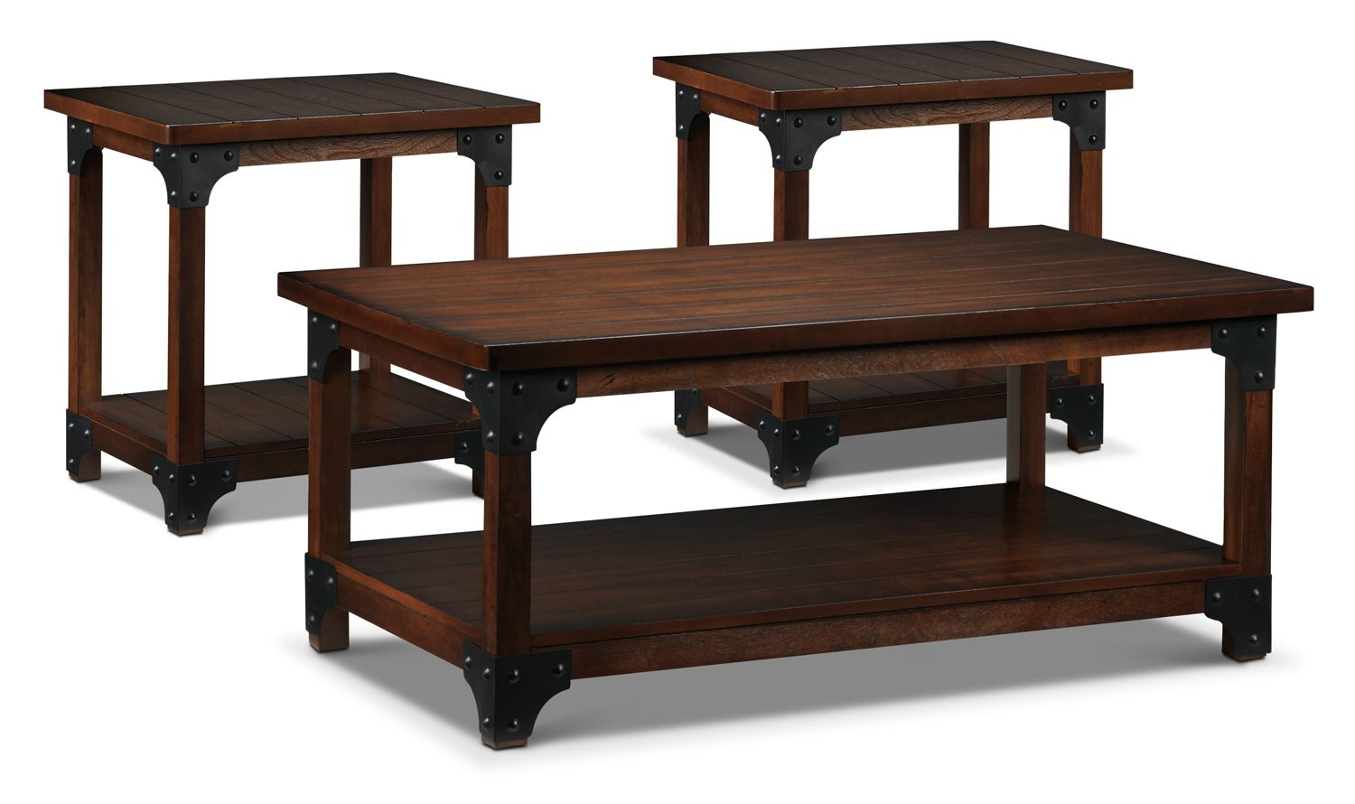 Table talk word around town is that rustic revival dcor is all accent and occasional furniture wellington coffee table two end tables geotapseo Choice Image
