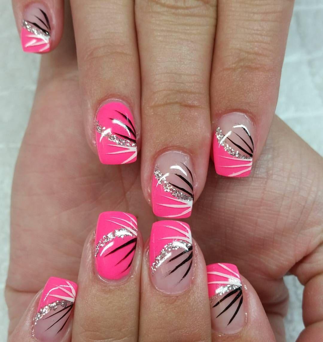 Fingernagel Gelnagel Neonnails Neon Melon Silber Glitzer