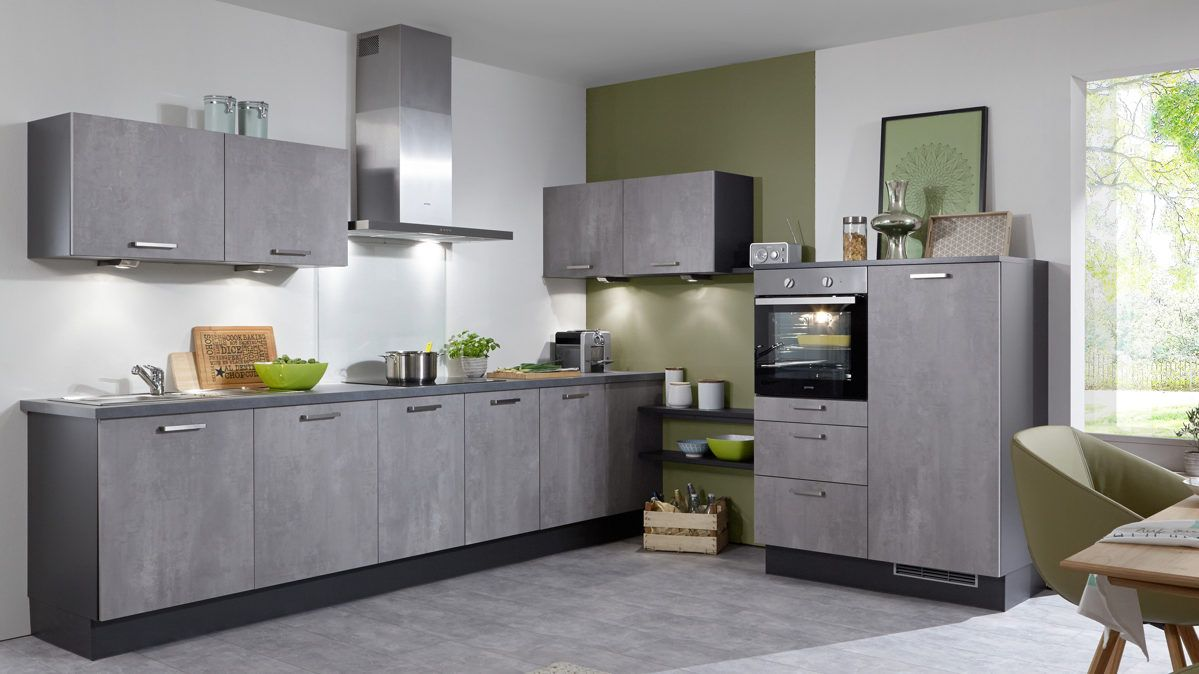 einbauk che mit gorenje elektroger ten oxidbetonfarbene. Black Bedroom Furniture Sets. Home Design Ideas