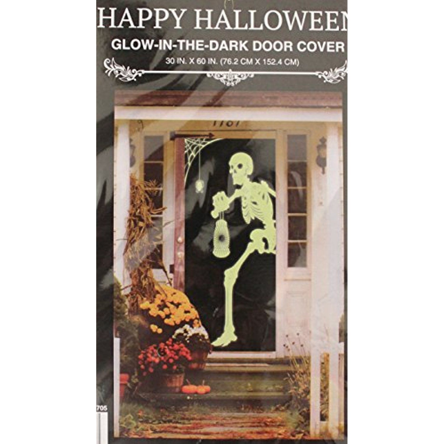 Scary Skeleton, Glow in the dark, Door Cover, Mural, Halloween - Halloween Door Decoration Ideas