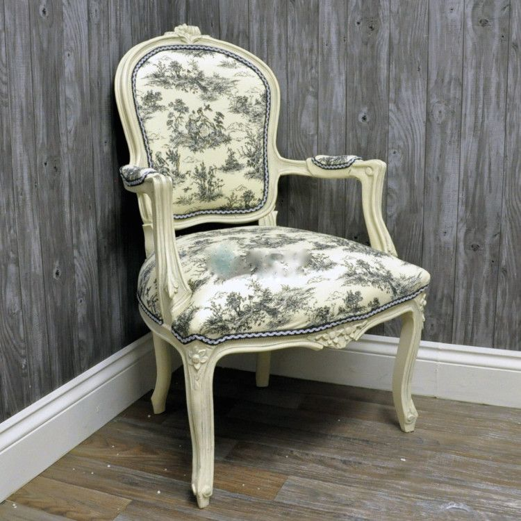 Louis Armchair with Toile Upholstery – Allissias Attic & Vintage French Style