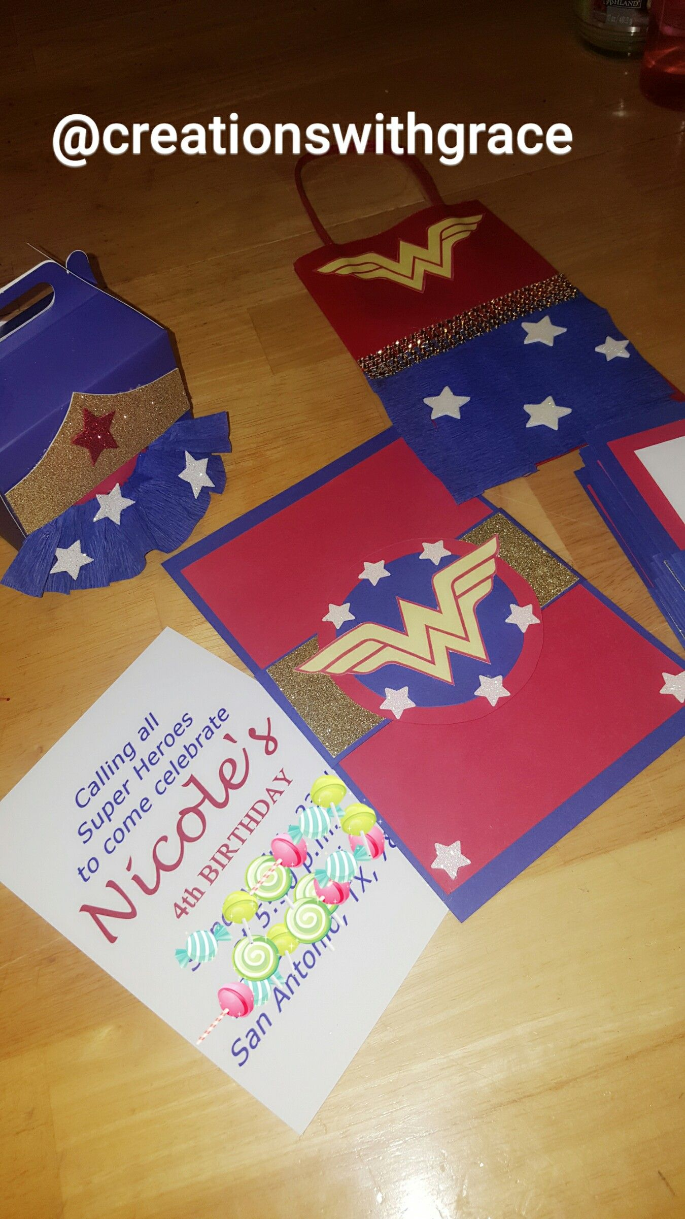 f1da307b54 Wonder woman invitations party favors and candy bags. #wonderwomanparty