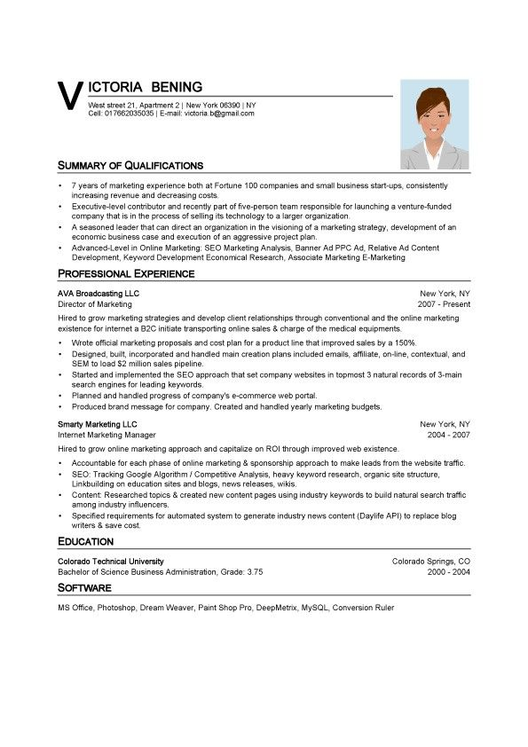 Microsoft Resume Templates Posts related to Marketing Resume - sample resume in word format