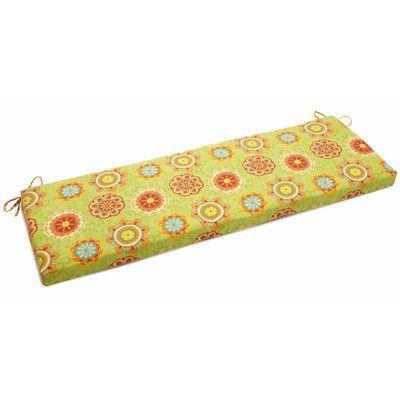 "Blazing Needles Farmington Outdoor Bench Cushion Size: 3.5"" H x 57"" W x 19"" D, Fabric: Farmington Terrace Apple"