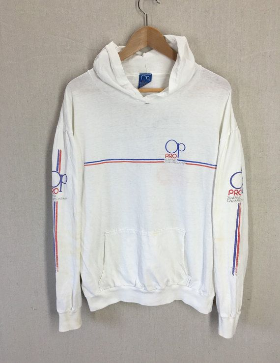 Vintage Distressed 1983 OP Ocean Pacific Pro Surfing Championship  Huntington Beach Hooded Long Sleeve Shirt XL USA 9a7dd6b20