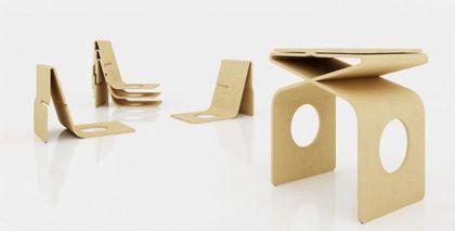 Za Stool: Collapsible Folder Made Furniture