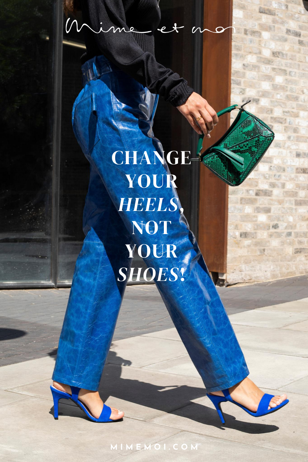 What a dream! No more worrying about wearing the wrong shoes, just ckick on a new heel and off you go. Go with the flow, with Mime et moi heel changing shoes. #heelchanger #mimeetmoi #mimelover #shoelover #changeableheels #pumps #sandals #heels #blockheel #stiletto #flats