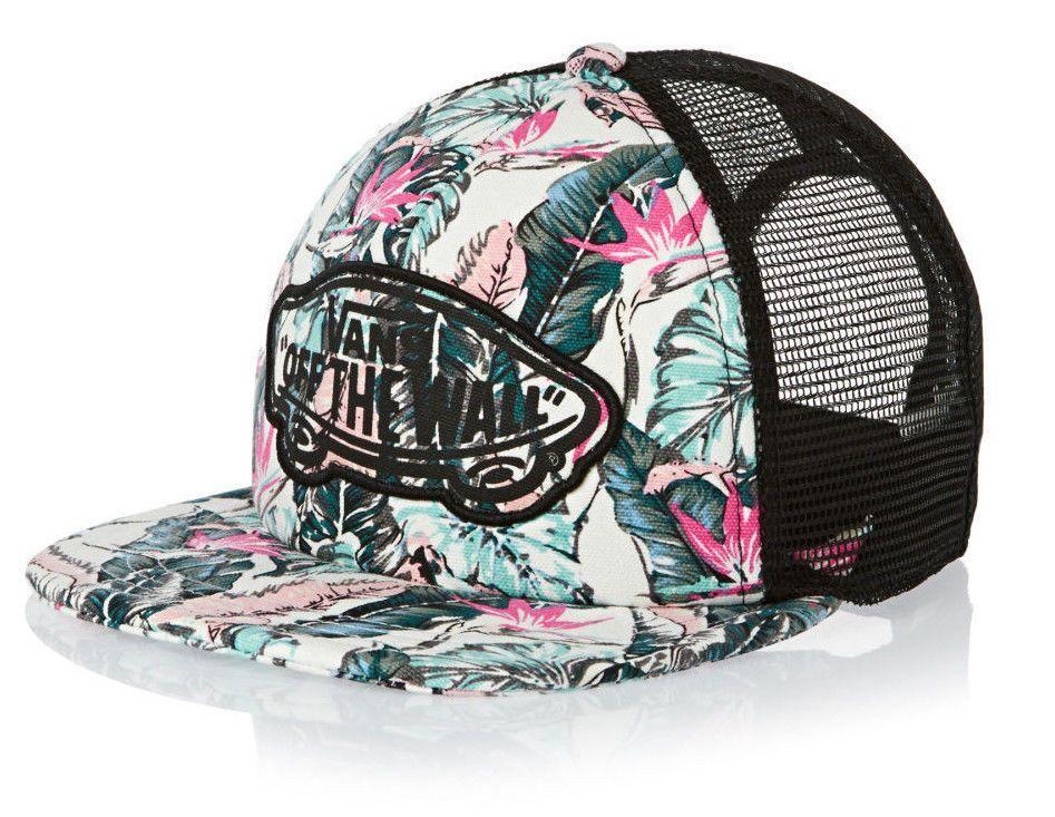 2ebb9b84830 Vans Off The Wall Women S Beach Girl Trucker Hat Cat Print - Tropical
