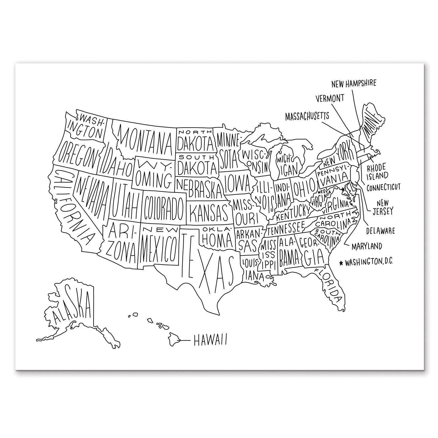 Hand Drawn Map Print Of The United States Use It To Plot