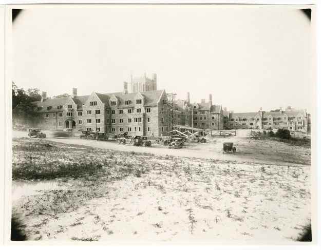 Photos, letters, and scrapbooks related to the construction of the Duke campus.