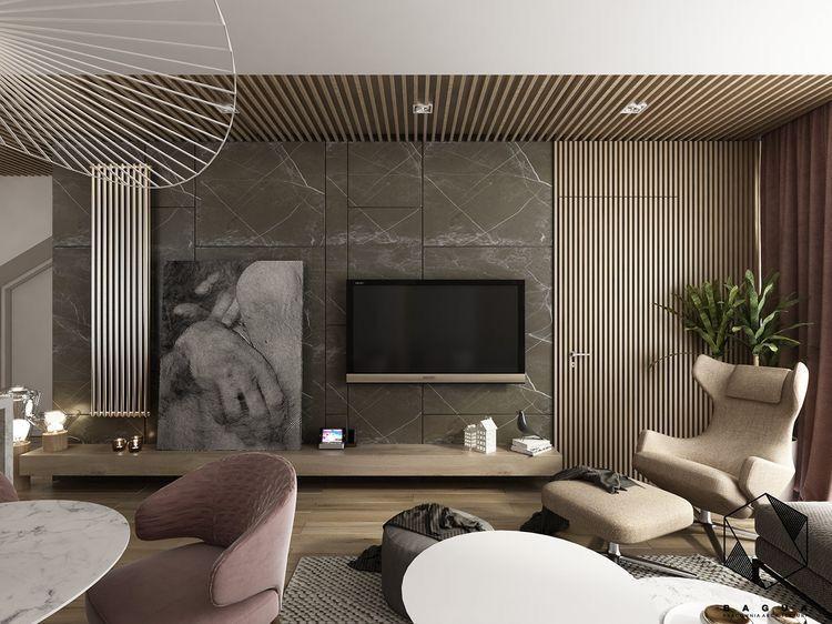 Concealed Slat Wood Passage Door Living Room Tv Living