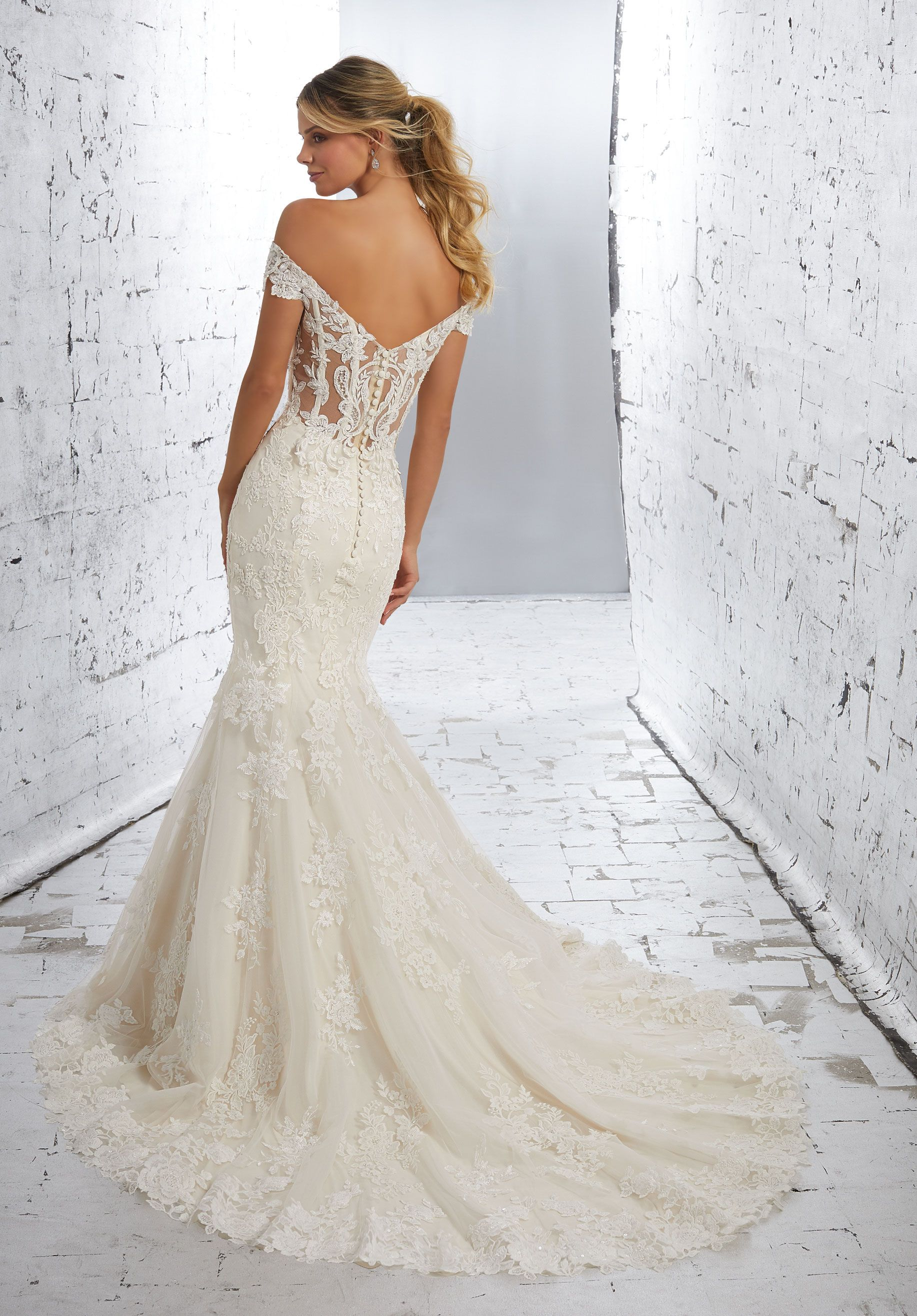 Too much cleavage wedding dress  Luciana Wedding Dress in   Fit u Flare Wedding Dress