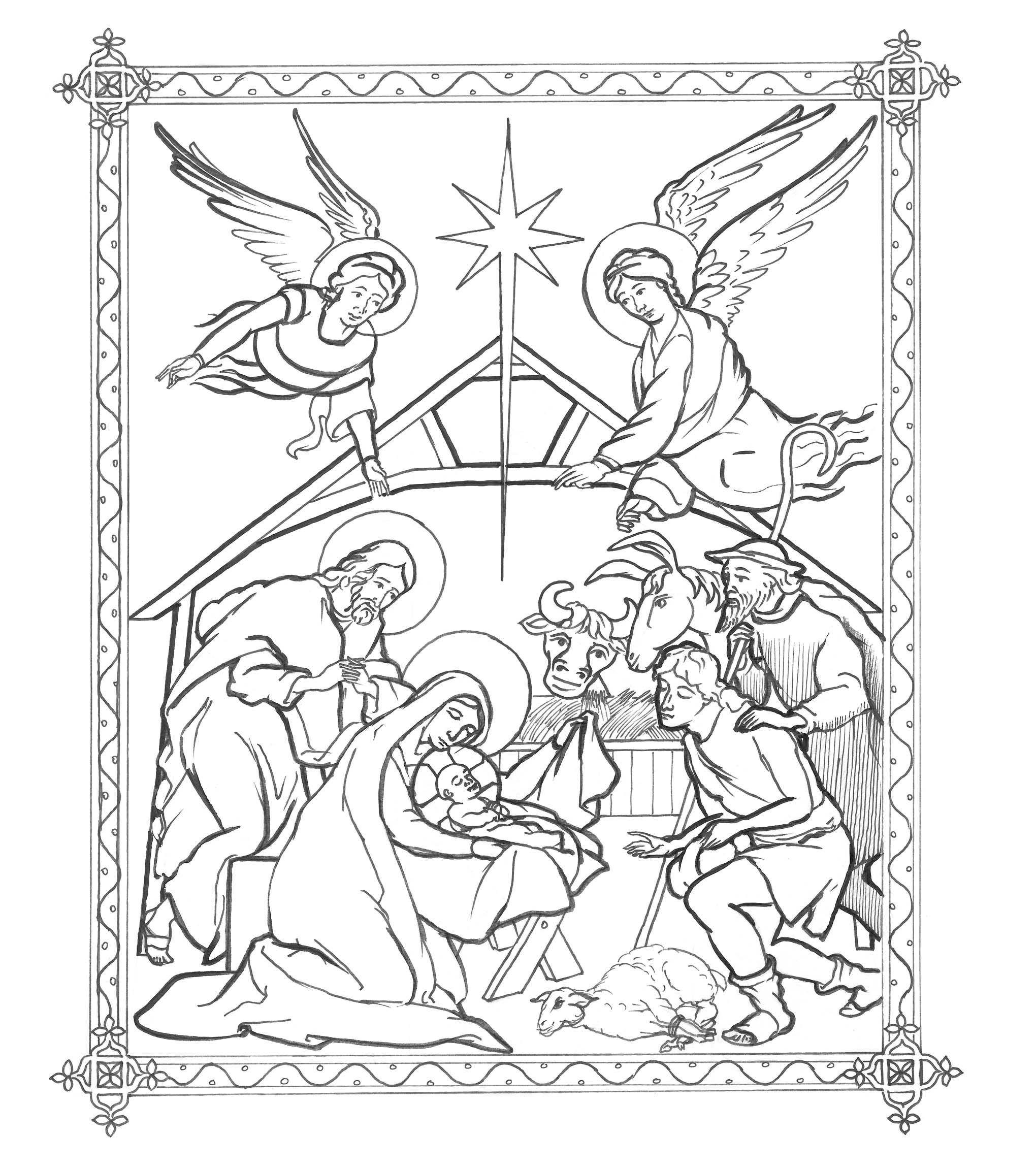 Nativity Jpg 2 040 2 302 Pixels Christmas Coloring Pages Coloring Pages Winter Coloring Pages
