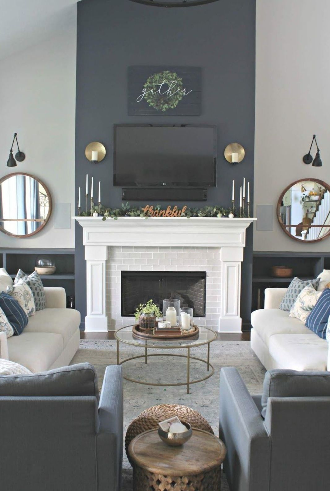 Sw Cyberspace Fireplace Accent D Blue Gray Hides Tv Flanked By Simple Built In Bookcas In 2020 Accent Walls In Living Room Living Room With Fireplace Home Fireplace