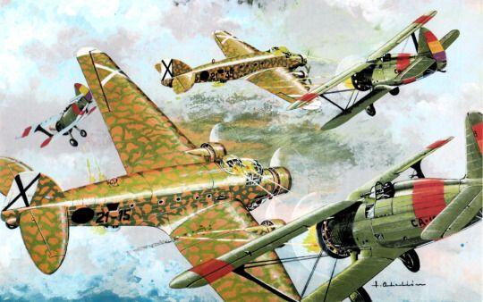 Polikarpov I-15 Chatos attacking Savoia Marchetti SM 81s over Spain