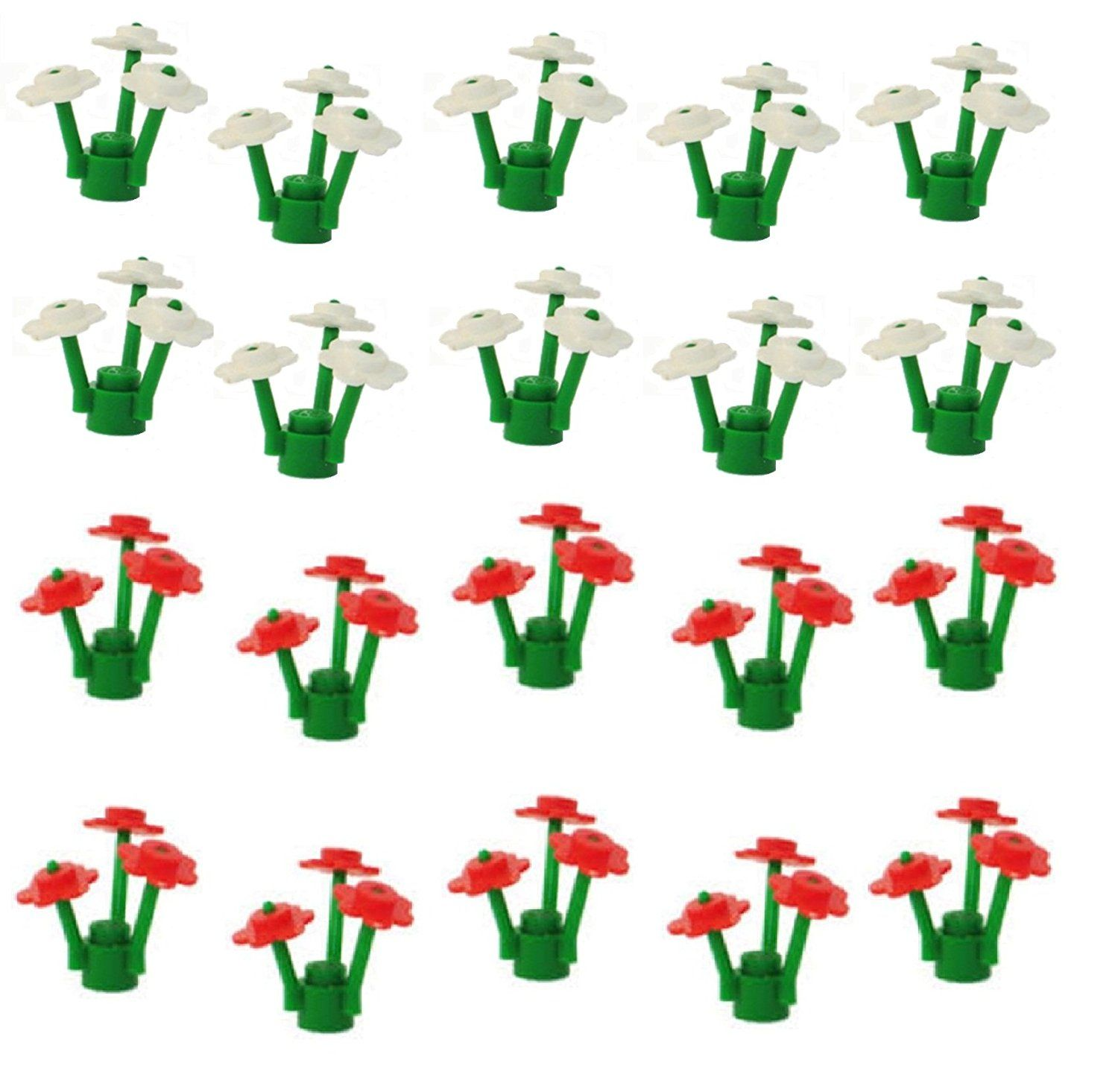 Lego 20 flowers with stems 10 red and 10 white amazon