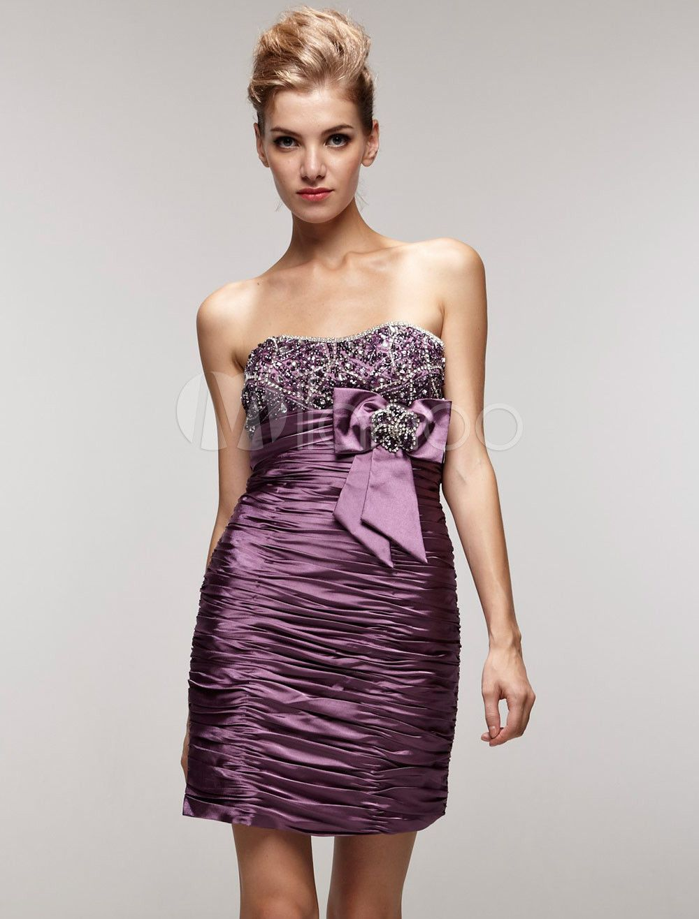 Milanoo ltd cocktail dresses attractive purple elastic