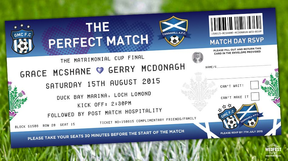 If You Re Looking To Find A Wedding Invite That Stands Out From The Crowd Football Ticket Invites Are Perfect Choice
