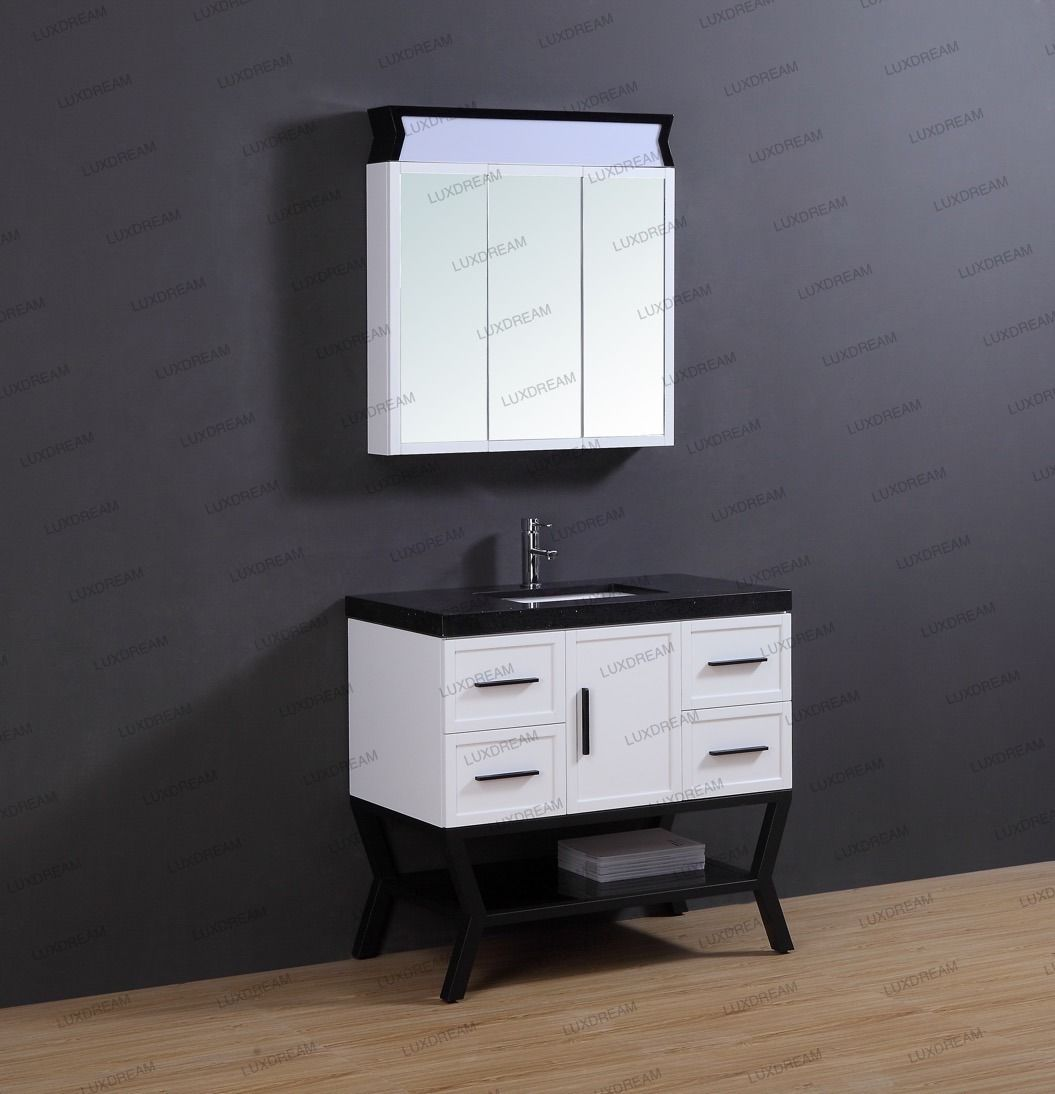 Luxdream 36 Inch Matel Support White Bathroom Cabinet With Lighted