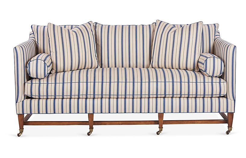 Brentwood Sofa   Blue Stripe   Mark D. Sikes | Products ...