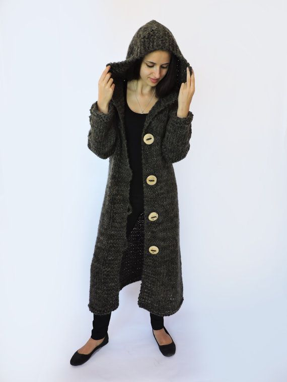 Hooded cardigan women Duster coat Extra long womens sweaters ...