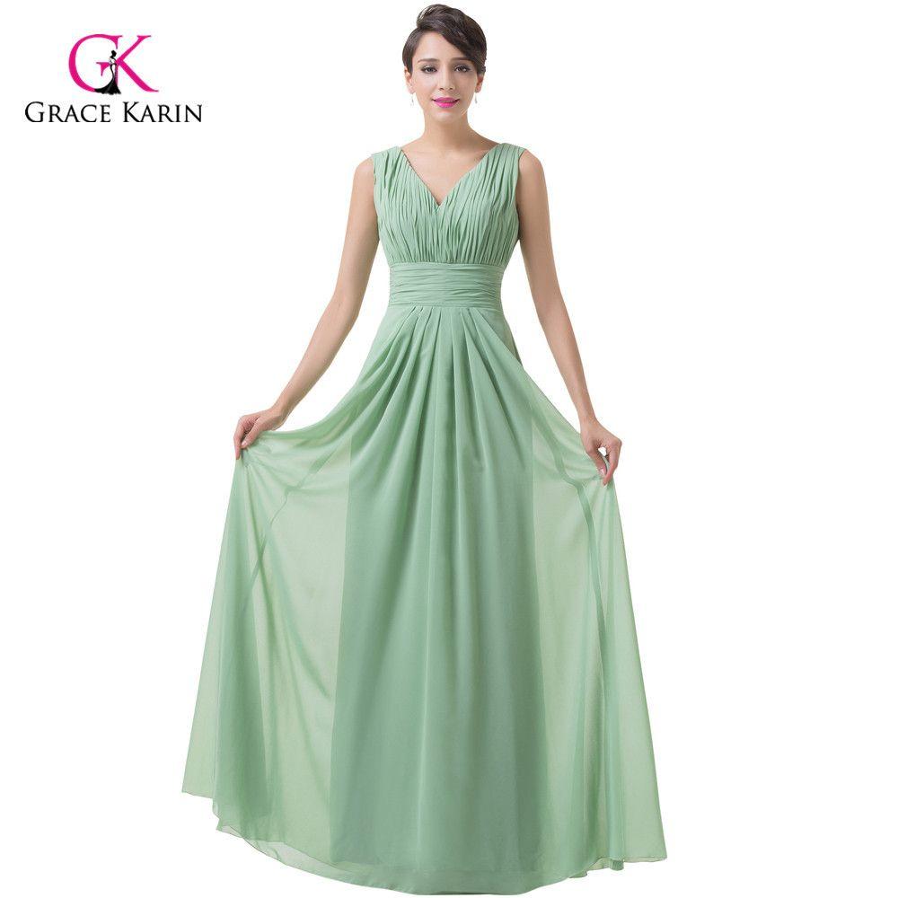 Click to buy ucuc grace karin dark sea green chiffon long prom dresses
