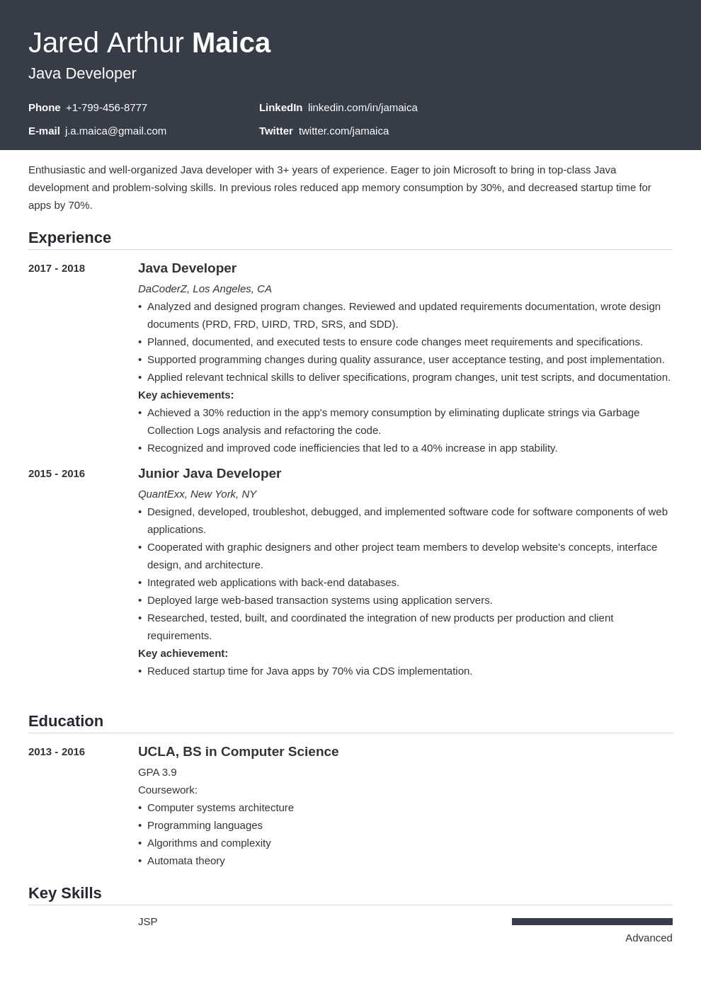 Java Developer Resume Example Template Influx Resume Examples Resume Job Resume Examples