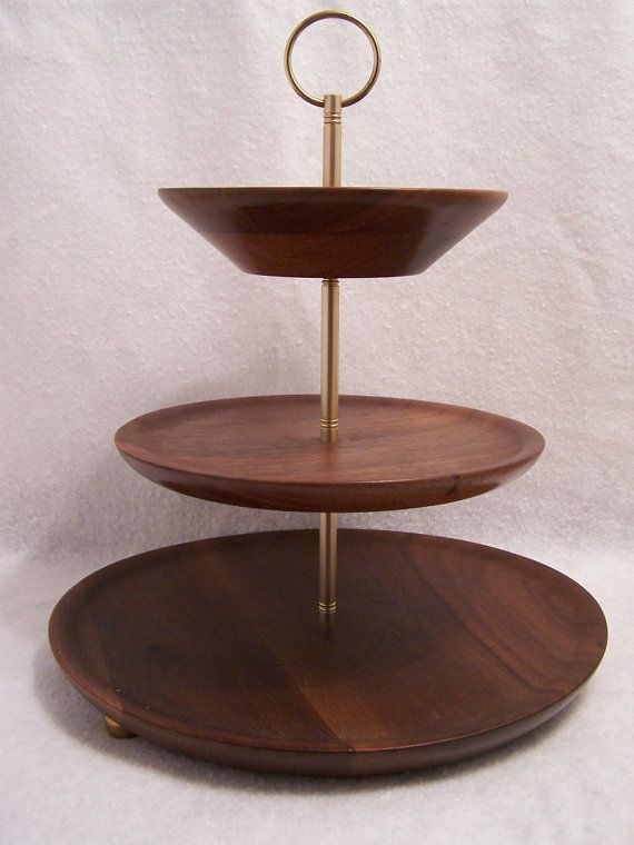 3 Tiered Walnut Tea Tray Tea Tray Simple Storage Tiered