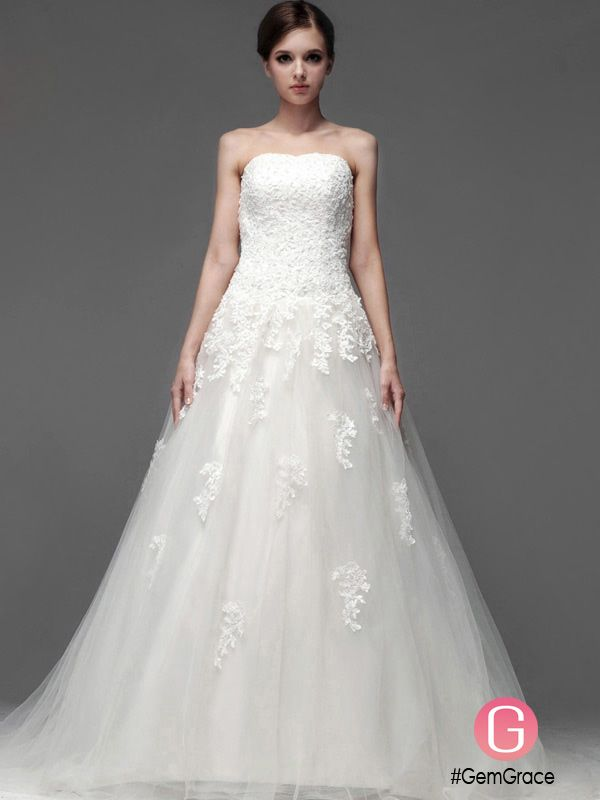 Lace A-line Long Tulle Wedding Dress with Sweep Train #BS091 $298.9 ...