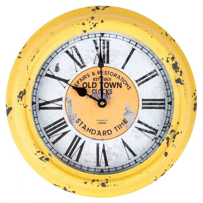 Antique Yellow Round Old Town Metal Wall Clock | Kitchen | Pinterest ...