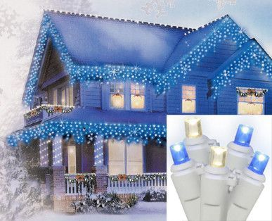 Set of 70 Blue and Warm Clear Wide Angle Icicle Christmas Lights