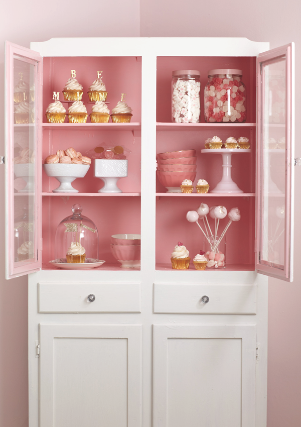 create a cute space in your kitchen for sweet treats :: painting the inside of the cupboards works