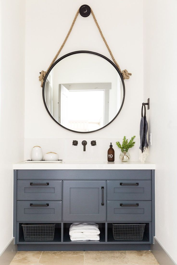 Round Mirror Over Vanity Park City Canyons Remodel Downstairs