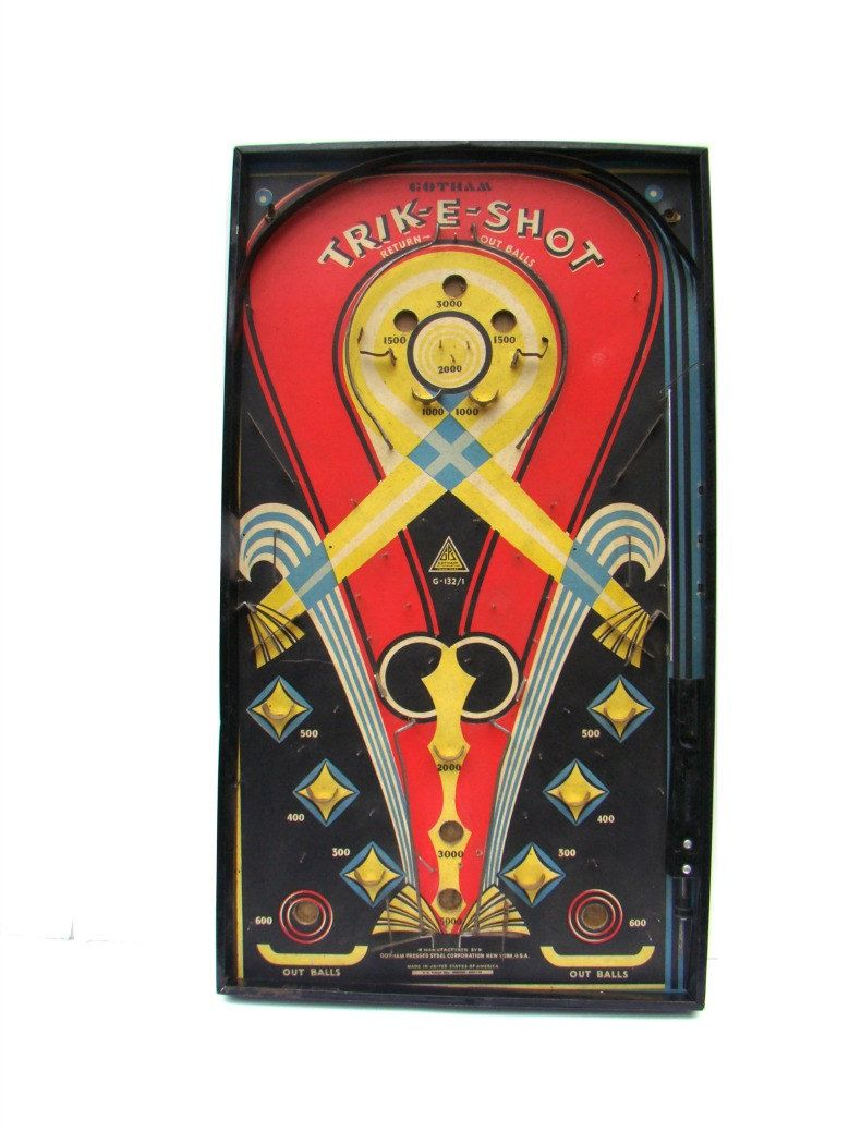 vintage game home decor gotham trik e shot pinball bagatelle vintage game home decor gotham trik e shot pinball bagatelle board art deco