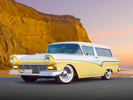 1957 Ford Del Rio Ranch Wagon  Yellow cars are normally annoying to