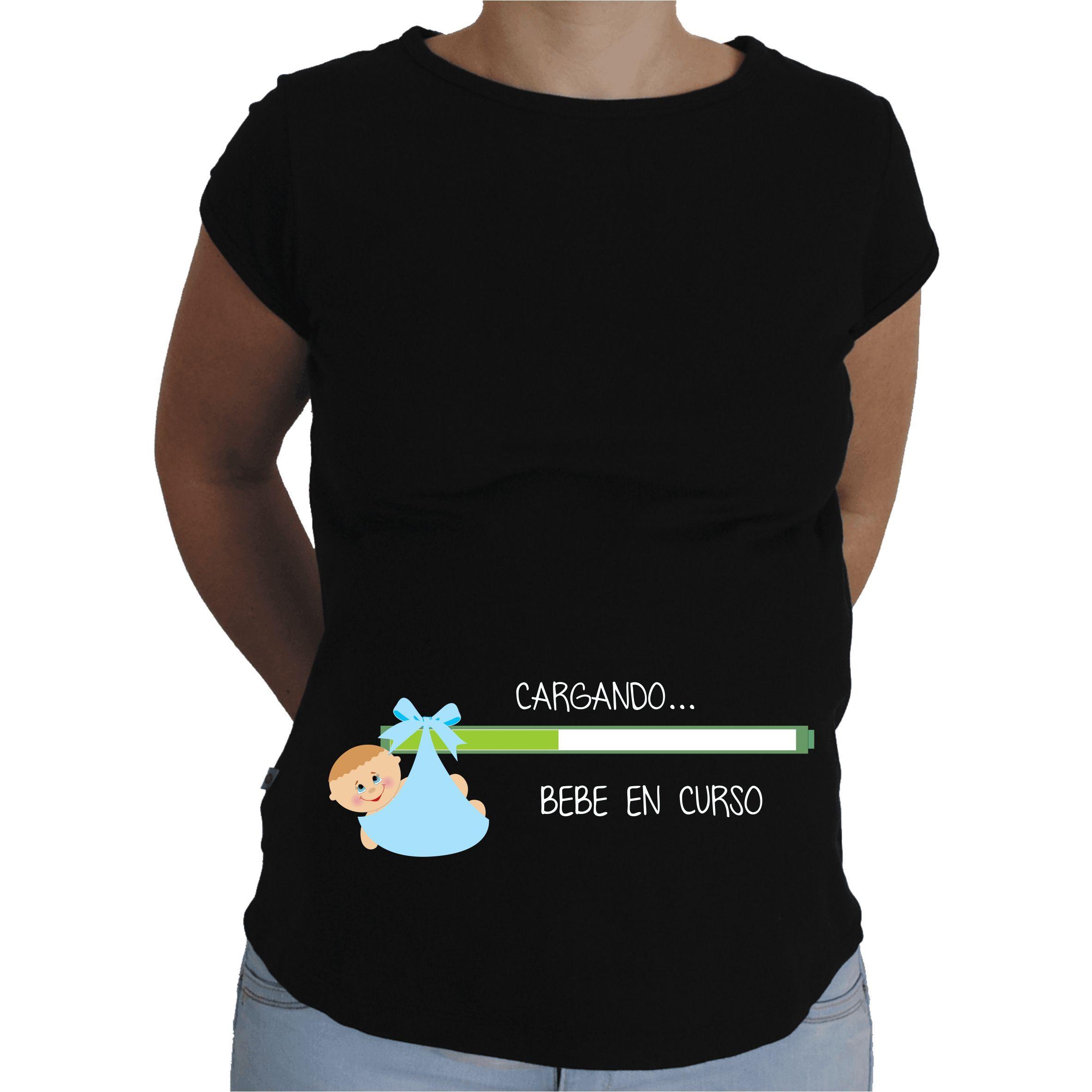 1fe4dadac Camiseta para embarazada Divertida - Bebe cargando chico ...