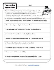 Worksheets Appositive Phrase Worksheet appositive phrases worksheets delibertad punctuating appositives activities free printable and phrase