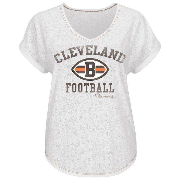 Cleveland Browns Historic Logo Majestic Women s Champion Swagger V-Neck T- Shirt - White c9529bbf2